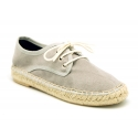 New soft cotton canvas laces up espadrille shoes.