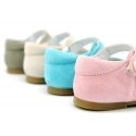 Soft suede leather Halter Mary Jane shoes in pastel colors.