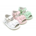 Soft Nappa leather Sandal shoes with BOW for babies.