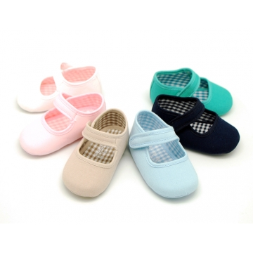 Cotton canvas little Mary jane shoes with hook and loop strap for babies.