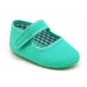 Cotton canvas little Mary jane shoes with velcro strap for babies.