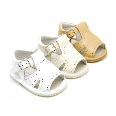 Soft Nappa leather sandals with buckle fastening for baby boys.