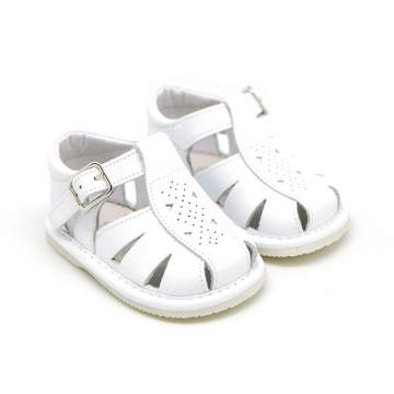 Sandalia en piel suave para niños bebés.