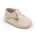 Cotton canvas T-strap shoes with velcro strap for babies.