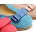 T-strap little Mary Jane shoes with bow in Soft suede leather.