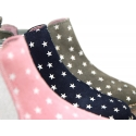 Suede leather ankle boot shoes with stars print design.