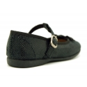 Autumn winter canvas T-strap Mary Jane shoes with bow.