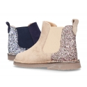 New suede leather ankle boots with MELANGE GLITTER.