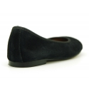 Classic suede leather ballet flat shoes with glitter toe cap.
