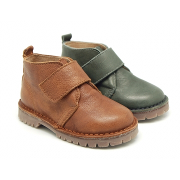 Casual leather little ankle boots with velcro strap.