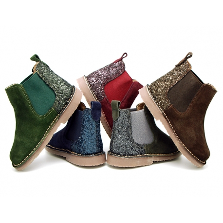 NEW suede leather ankle boots with Matte glitter counter.