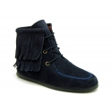 MOHICAN style Medium height ankle boots with fringed design in suede leather.
