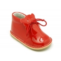 Little bear safari style boots in red patent leather.
