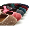 Crystals design velvet canvas ballet flat shoes angel style.
