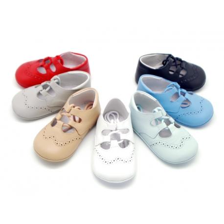 14e69a6de51 Tienda de Zapato Tipo Inglés de Piel para Bebés en piel napa lisa.
