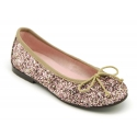 Classic ballet flat shoes in multicolor glitter.