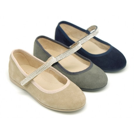 Suede leather Little Mary Janes with velcro strap and strass design.