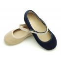 Suede leather Little Mary Janes with hook and loop strap and strass design.