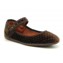Strass velvet canvas Mary Janes with velcro and button.