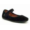 Strass velvet canvas Mary Janes with hook and loop strap and button.