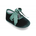 Velvet little Mary Janes for babies with ties closure.