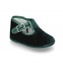 Velvet canvas T-Strap shoes for babies with hook and loop strap.