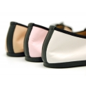 Combined soft leather ballet flat shoes with black toe cap.