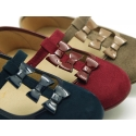 Autumn winter combined canvas Little Mary Janes with bows.