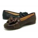 Autumn winter print canvas Ballet flats with bow.